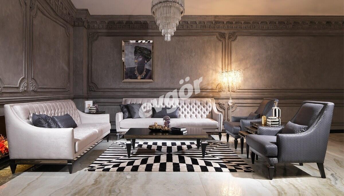 Bergamo Siyah Art Deco Koltuk Takımı