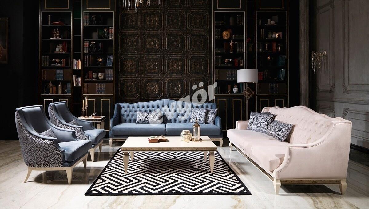 Watson Krem Art Deco Koltuk Takımı